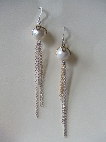 Celestial Orb drop earrings.  Freshwater pearls set in 18ct gold, with sterling silver and 18ct gold chains.