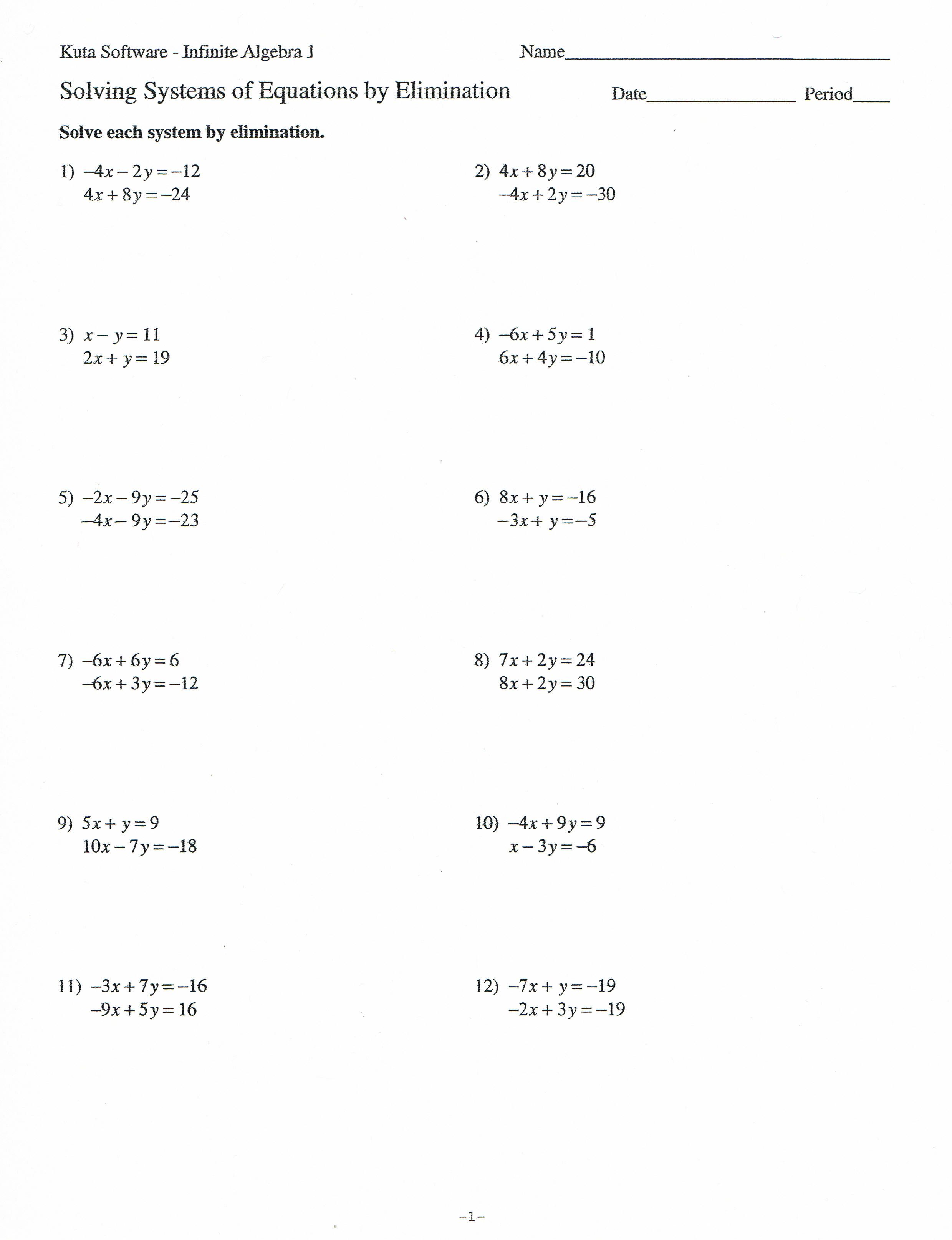 Solving Systems Of Equations By Elimination Worksheet The