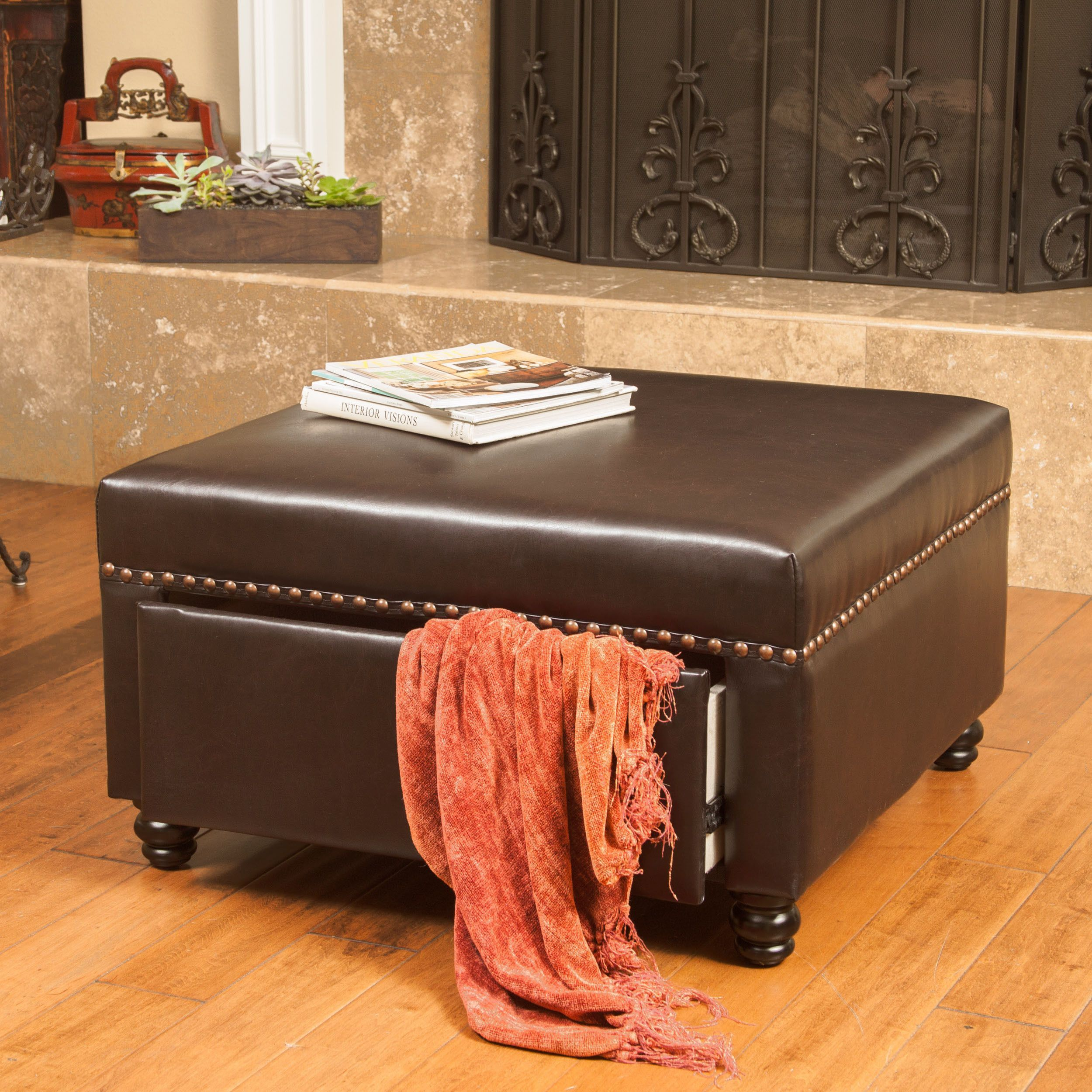 Darby Square Bonded Leather Storage Ottoman by Christopher Knight