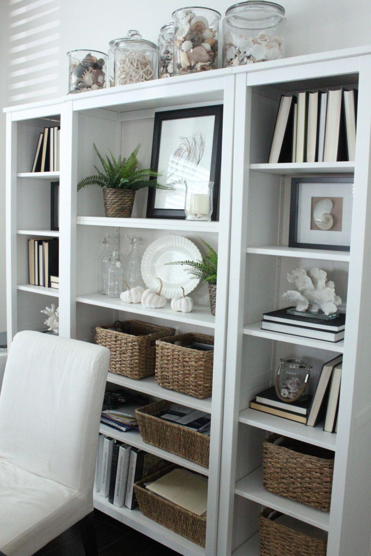 No Cost Decorating Backward Books Starfish Cottage Bookcase Decor Home Office Design Bookshelf Decor
