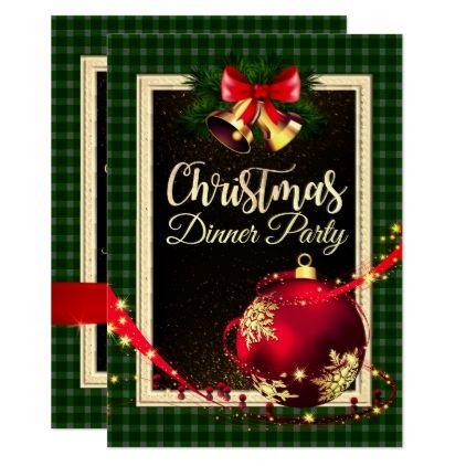 Green Checked Christmas Dinner Invite Zazzle Com