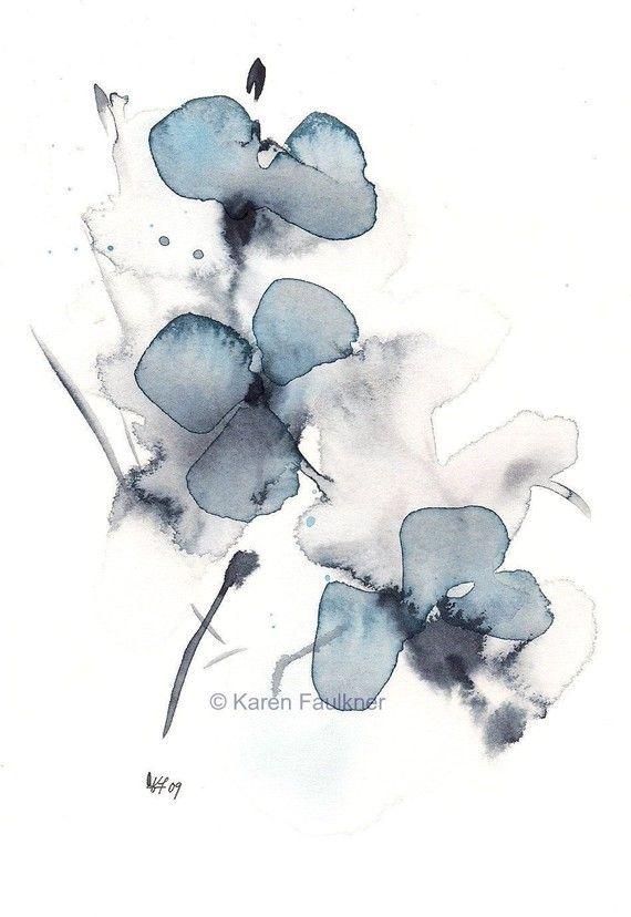 watercolor flower print indigo blossoms blumen pinterest aquarell malerei und kunst. Black Bedroom Furniture Sets. Home Design Ideas
