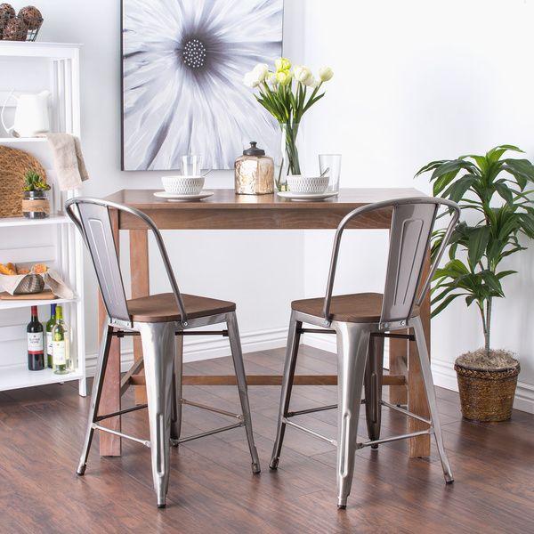 tabouret bistro wood seat gunmetal finish counter stools set of 2 rh pinterest com