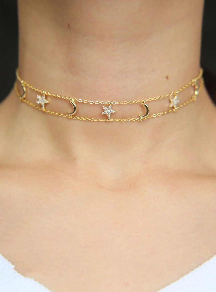 DOUBLE LAYER LACE CHOKER WITH CROSSES CROWN GOLD DROP BAR CHARM NECKLACE BLACK