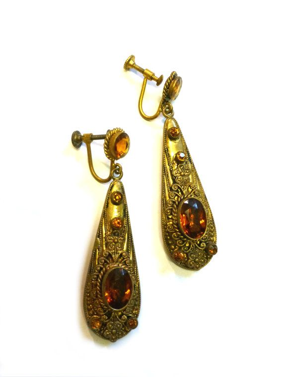 Elegant Vintage Style Antiqued Filigree Brass and Hand Cut Clear Crystal Drop Earrings  Long Ornate Brass Rhinestone and Crystal Earrings