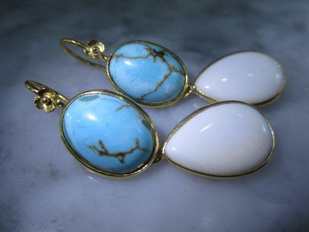 Weiteres - Ohrringe Vintage Tuerkis Larimar Onyx Chandelier - ein Designerstück von TOMKJustbe bei DaWanda