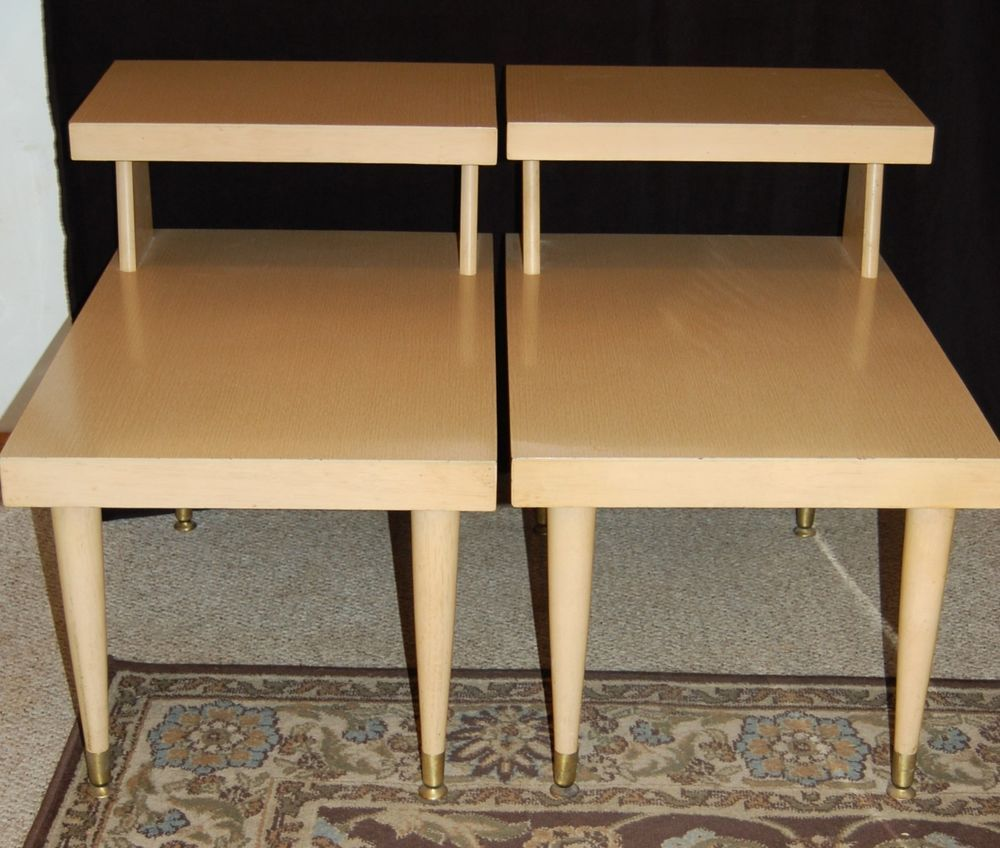 Mid Century Modern Mersman Blonde End Tables Pair Free Shipping