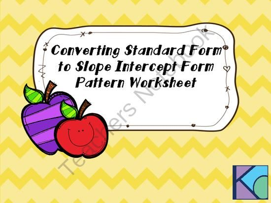 Converting Standard Form To Slope Intercept Form Pattern Worksheet