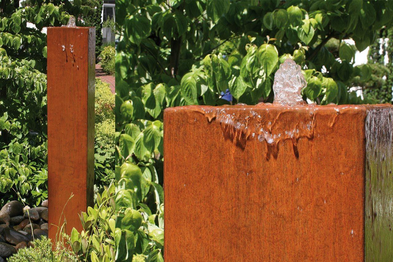 Kleiner garten springbrunnen cortenstahlbrunnen springbrunnen s ule aus corten hoher brunnen - Kleiner springbrunnen garten ...