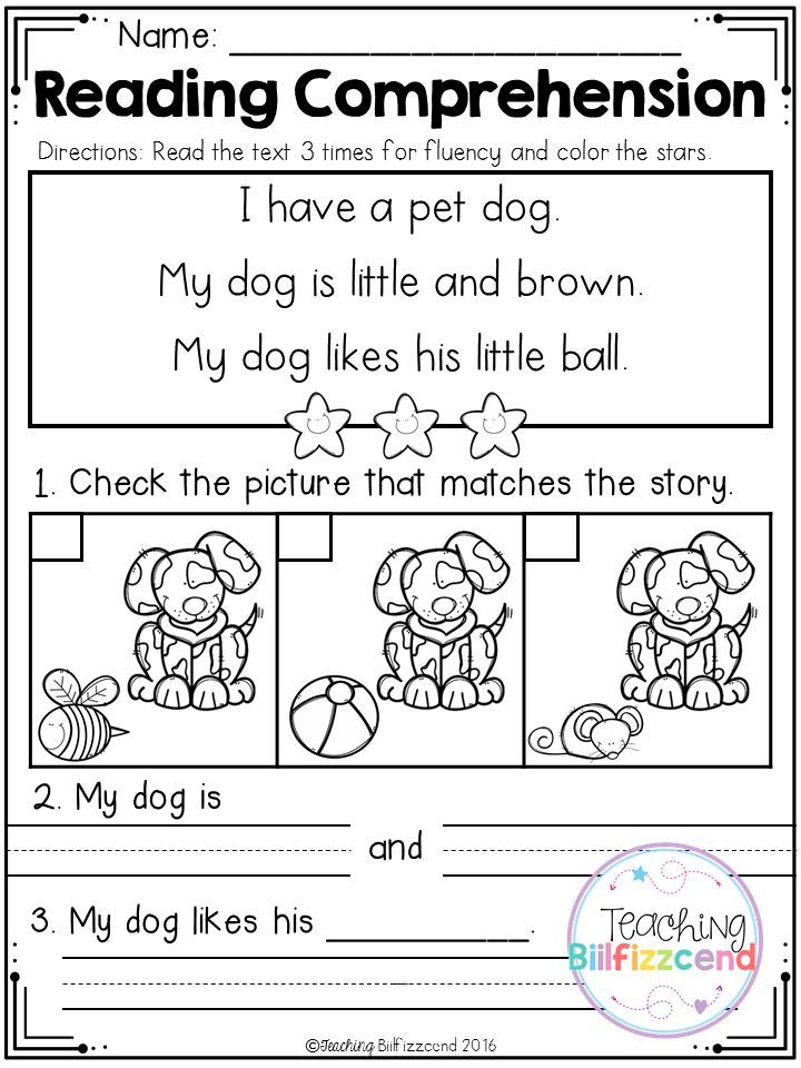 FREE Kindergarten Reading Prehension SET 2