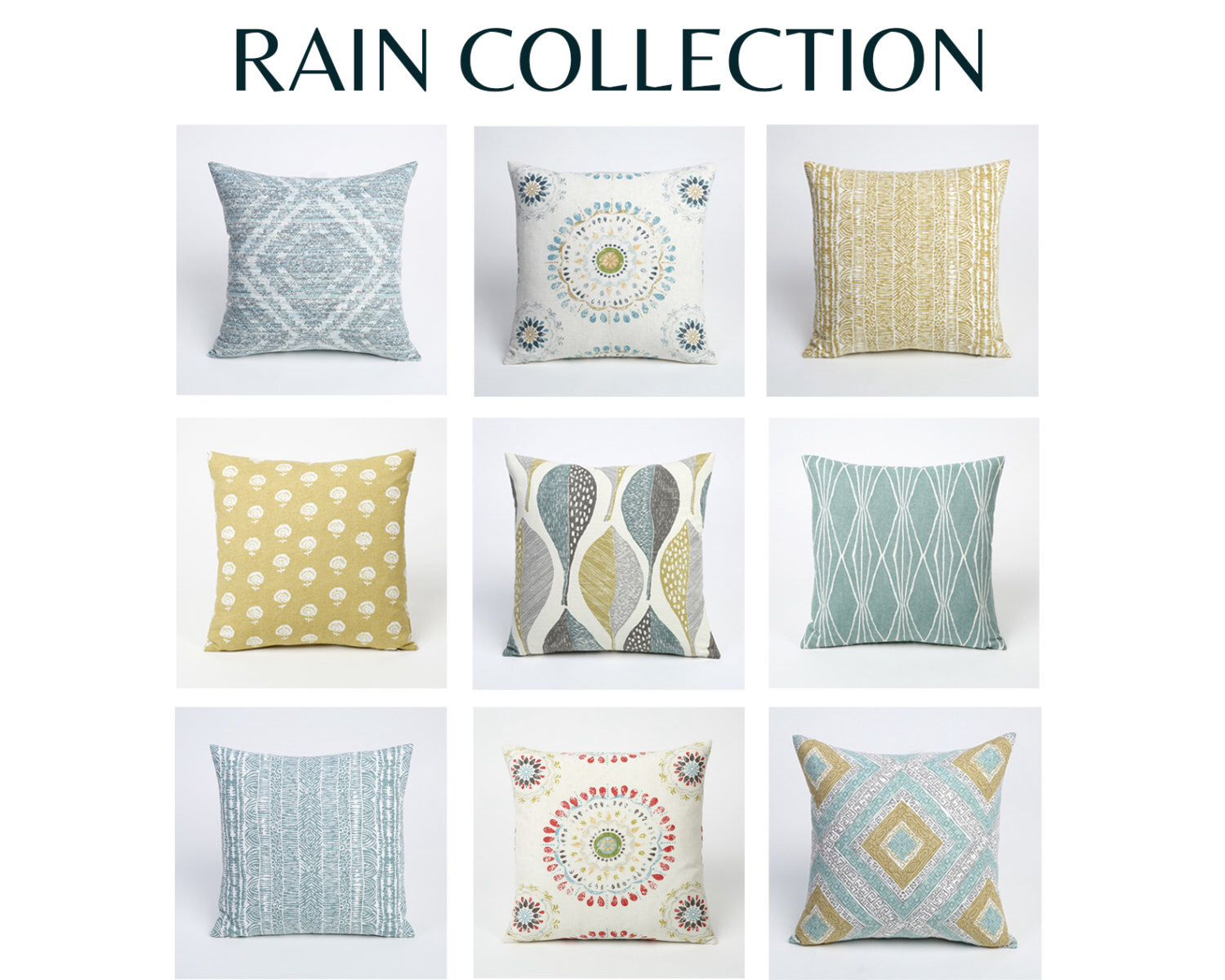 Rain Collection 26 X 26 Pillow Cover Pillow Covers 26 X 26 Couch Pillow Covers Large Throw Pillows Blue Throw Pillow Cover