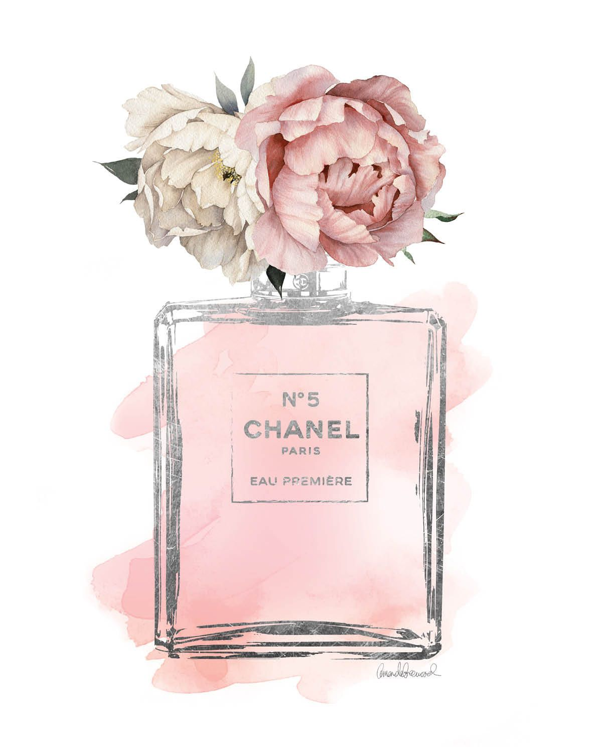 Chanel No5 Art 8x10 Pink Peony Watercolor Silver By