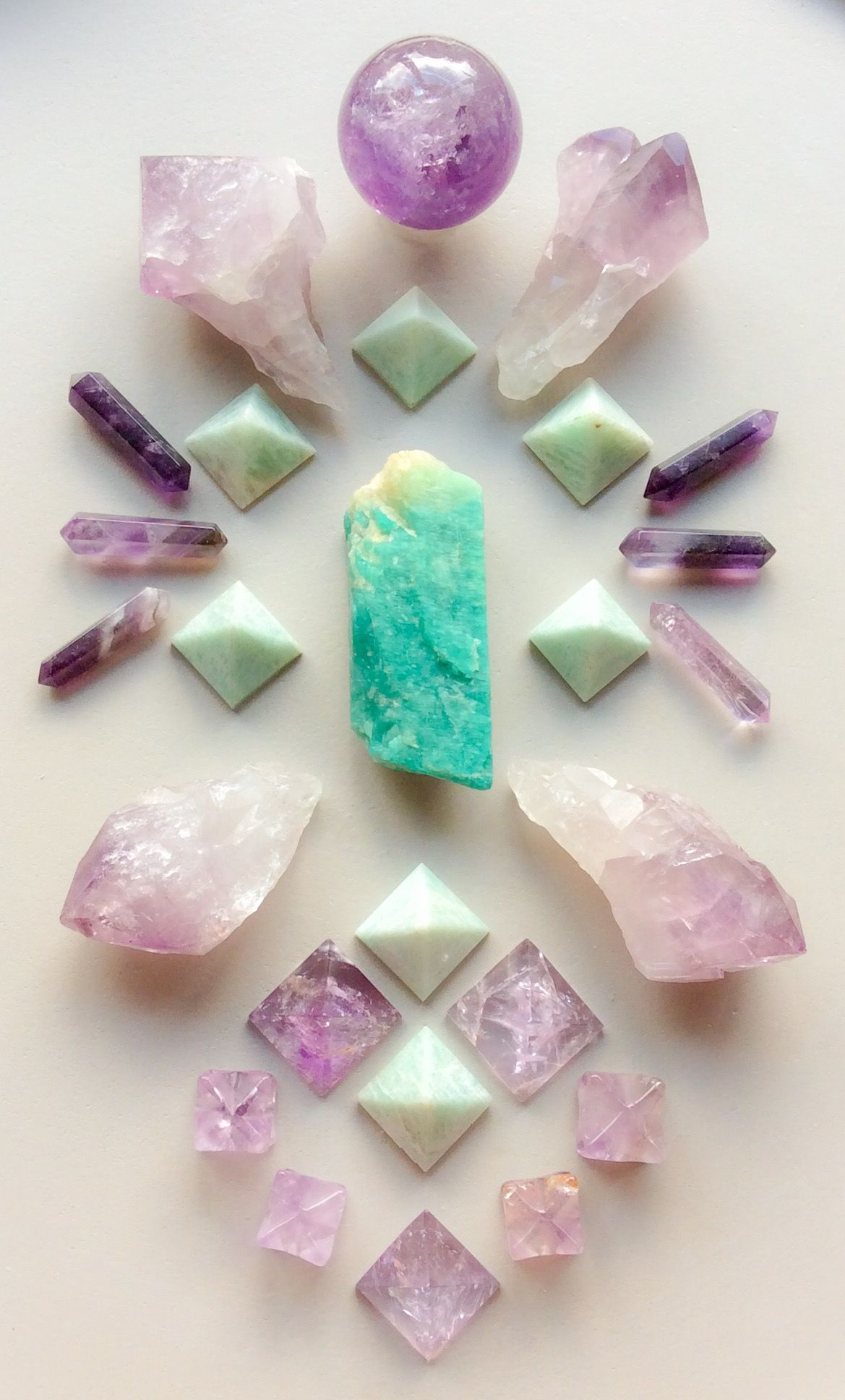 Beautiful Crystal Grid Amazonite And Amethyst By Woodlights