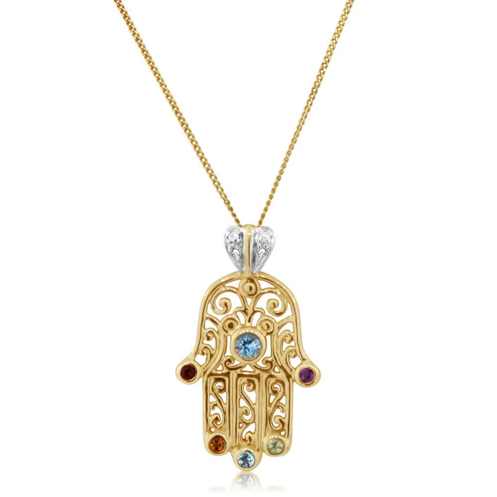 Hamsa 14K Gold Filigree Necklace with Diamonds Gemstones Jewish