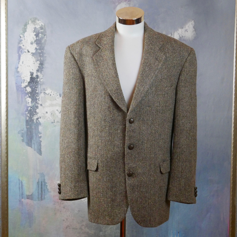 Brown Harris Tweed Wool Blazer Classic Single Breasted Herringbone Jacket Size 44 Us Uk Herringbone Jacket Wool Blazer Blazer