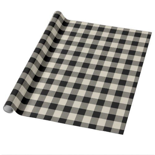 Rustic Black and Beige Buffalo Check Wrapping Paper ...