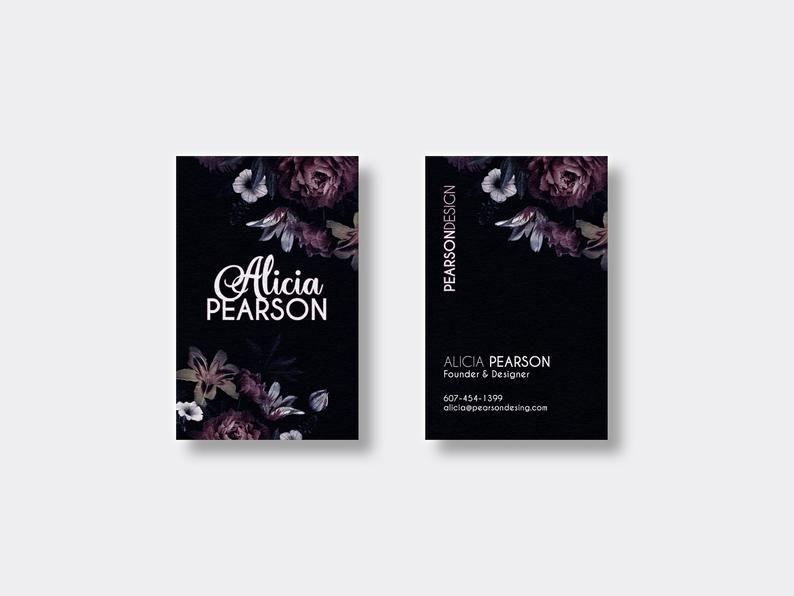 Carte De Visite Personnalisee A Imprimer Black Floral Book Cover Cards Business Cards