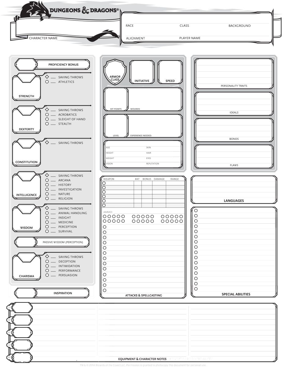 Dungeons & Dragons 5th Edition Character Sheet | Dungeon