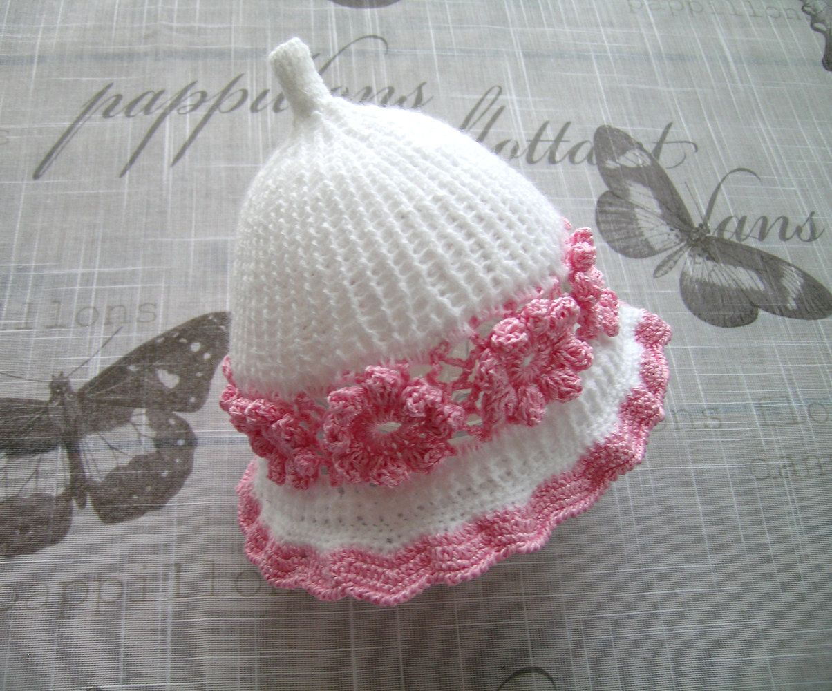 Handmade crochet knitted baby girls HAT, for baby Girl, 6 - 12 Months, crochet white hat decorated with baby pink flowers by ramutez on Etsy