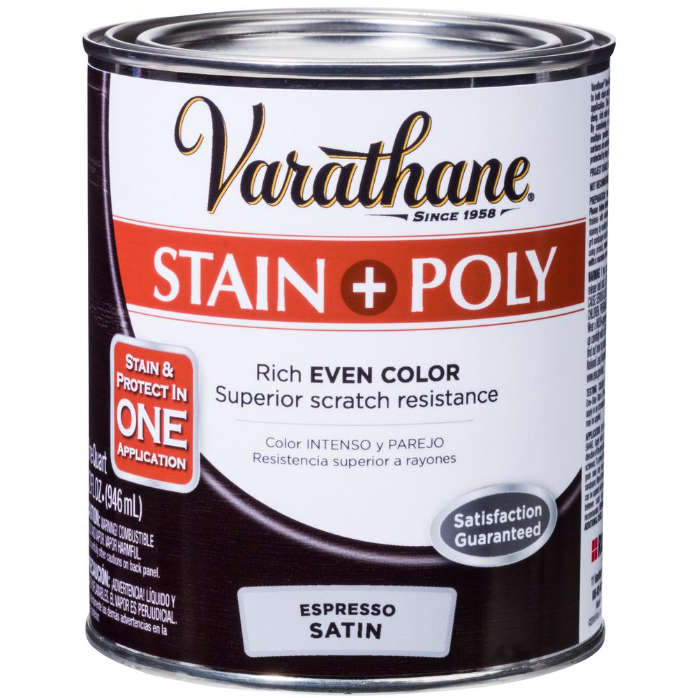 Varathane 1 Qt Espresso Satin Water Based Interior Stain And Polyurethane 2 Pack 339789 With Images Varathane Staining Wood Interior Wood Stain