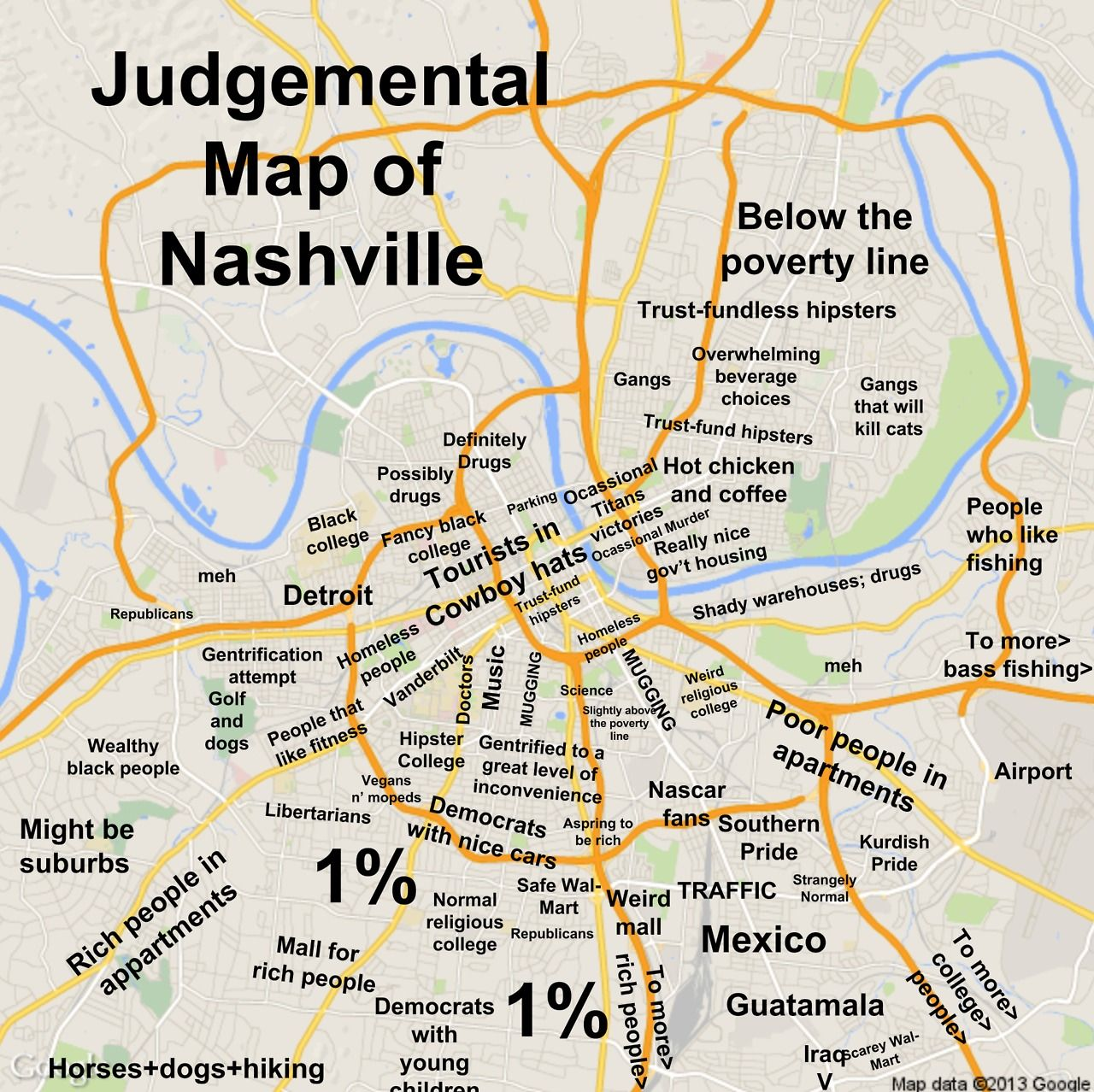 Nashville TN by Taylor Judgmental Maps Copr 2014 All Rights – Nashville Tourist Map