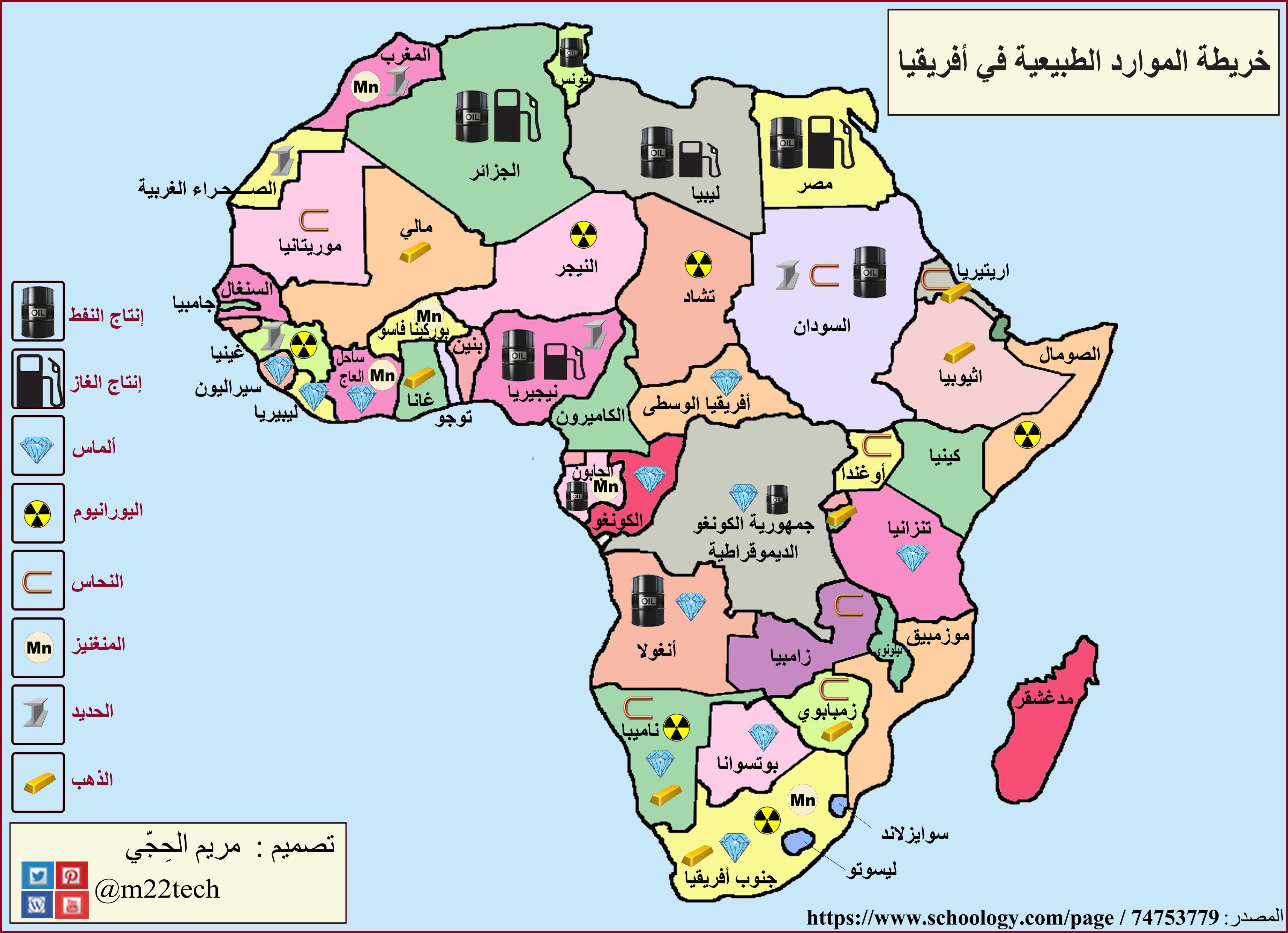 خريطة تعليمية توض ح الموارد الطبيعية في قارة أفريقيا Education Map Geography