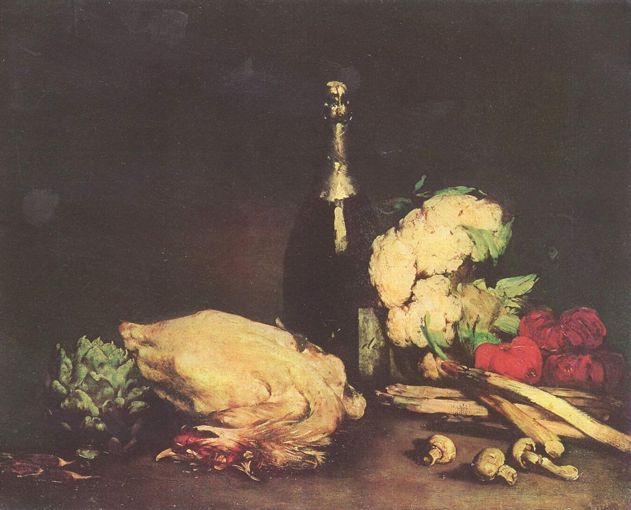 """Théodhule-Augustin Ribot: """"Still life"""", 1865, oil on canvas, Dimensions: 60 × 74.5 cm, Current location: Museum of Fine Arts Budapest."""