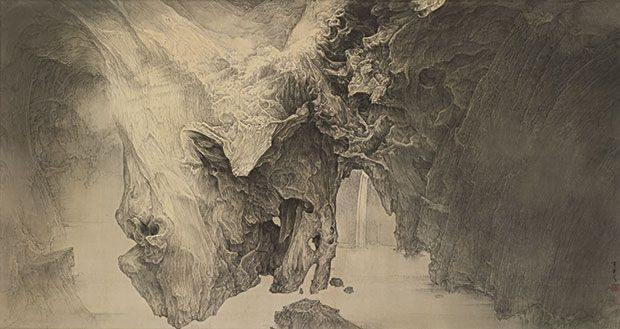 """Li Huayi's Immortal Mountain: Pureland Light from 2013 pays tribute to tradition while taking Chinese ink painting into the future.  Contemporary ink painting is not only emerging as a """"hot stock"""" across the auction scene, but it is also leaving its mark in art galleries and world-class art museums. After five years of preparation, Ink Art: Past as Present in Contemporary China opened at New York's Metropolitan Museum of Art late last year."""