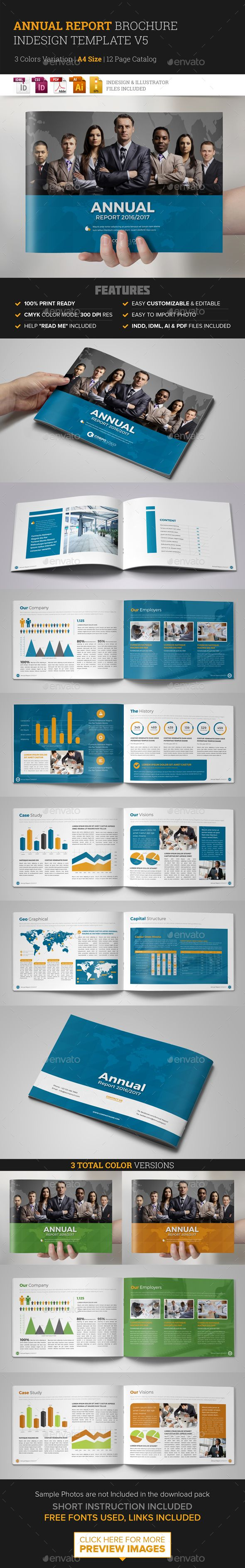 Annual Report Brochure Indesign Template 5 | Indesign templates ...
