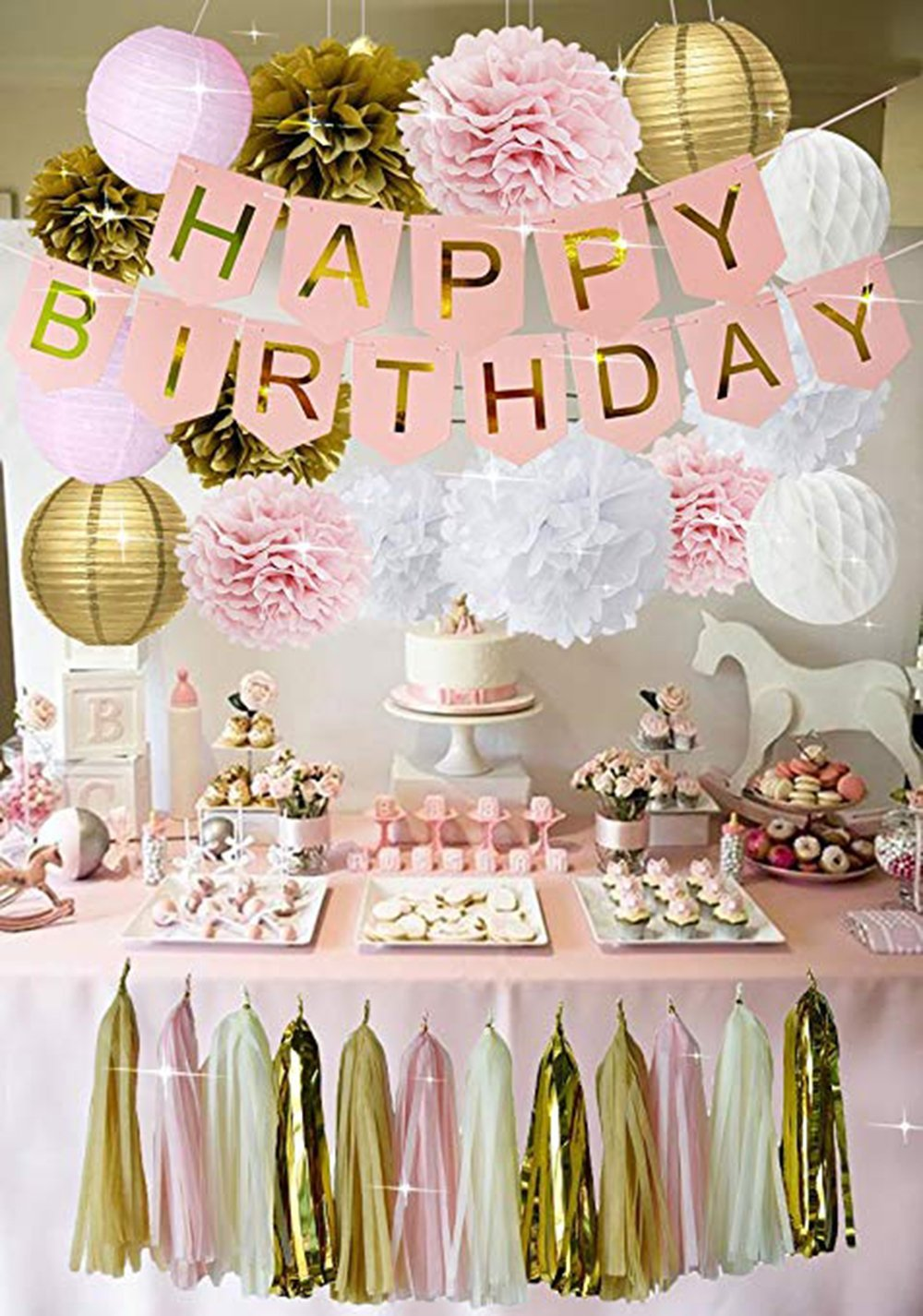 PINK GOLD BIRTHDAY Decorations – Pink Birthday Banner, Pink Girls Birthday Party Kit Decor, Pink Gold Poms & Lantern Set, Pink Tassel