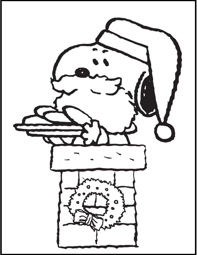 Snoopy Christmas coloring picture for kids | Snoopy ...