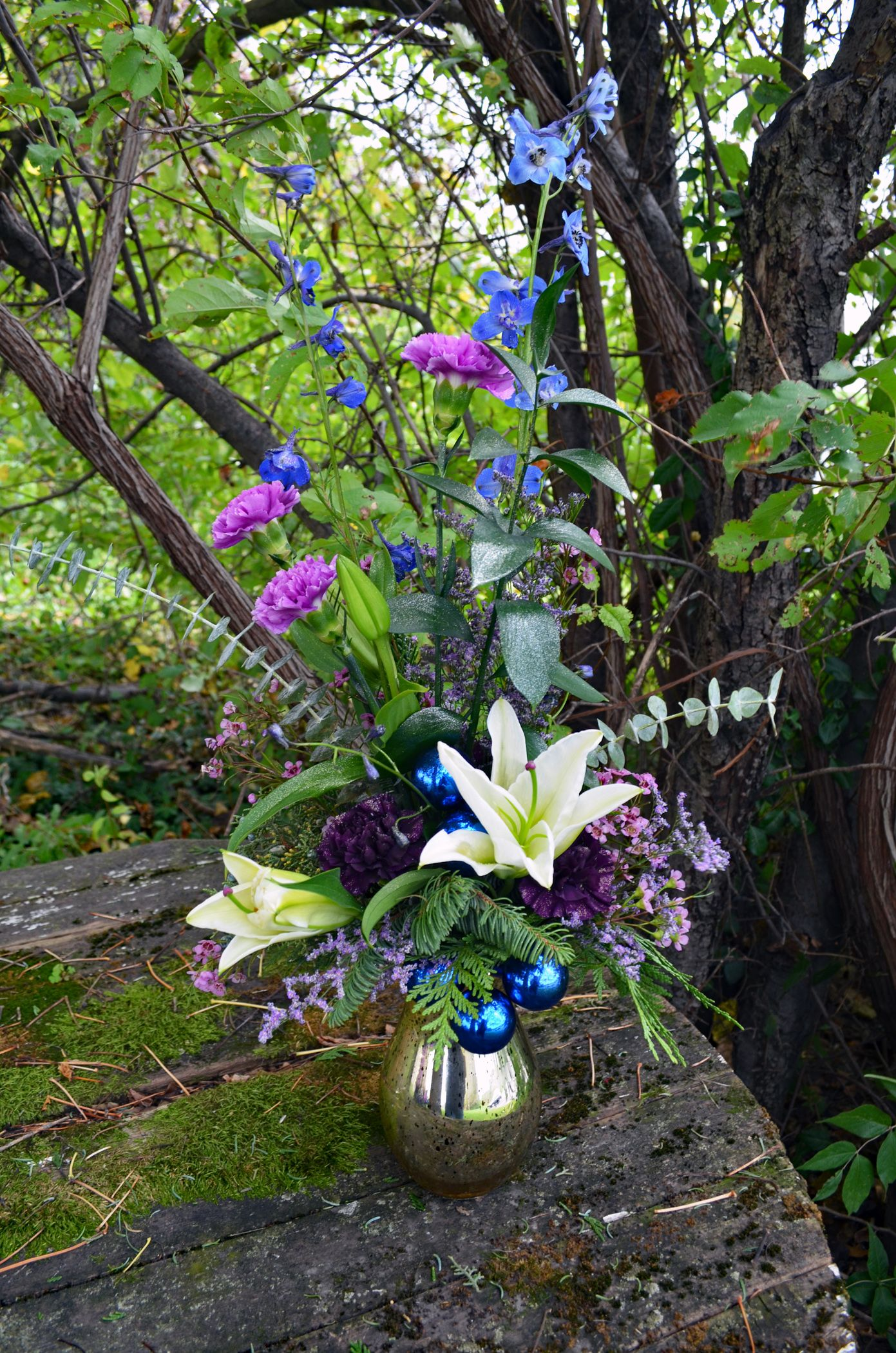 Frolic gillespie florists indianapolis in mercury glass vase is frolic gillespie florists indianapolis in mercury glass vase is filled with blue delphinium izmirmasajfo