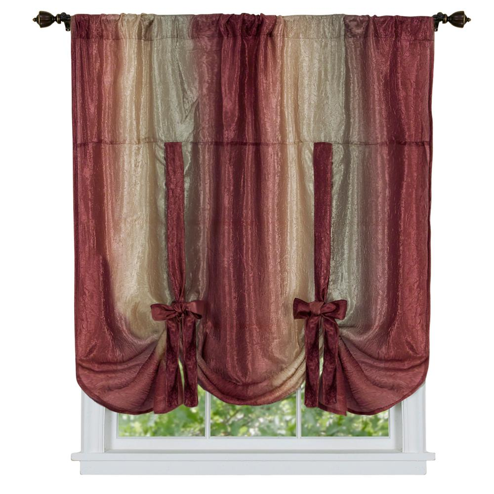 Achim Semi Opaque Ombre 50 In W X 63 In L Tie Up Shade Curtain In Burgundy Red Tie Up Shades Burgundy Curtains Shades Blinds