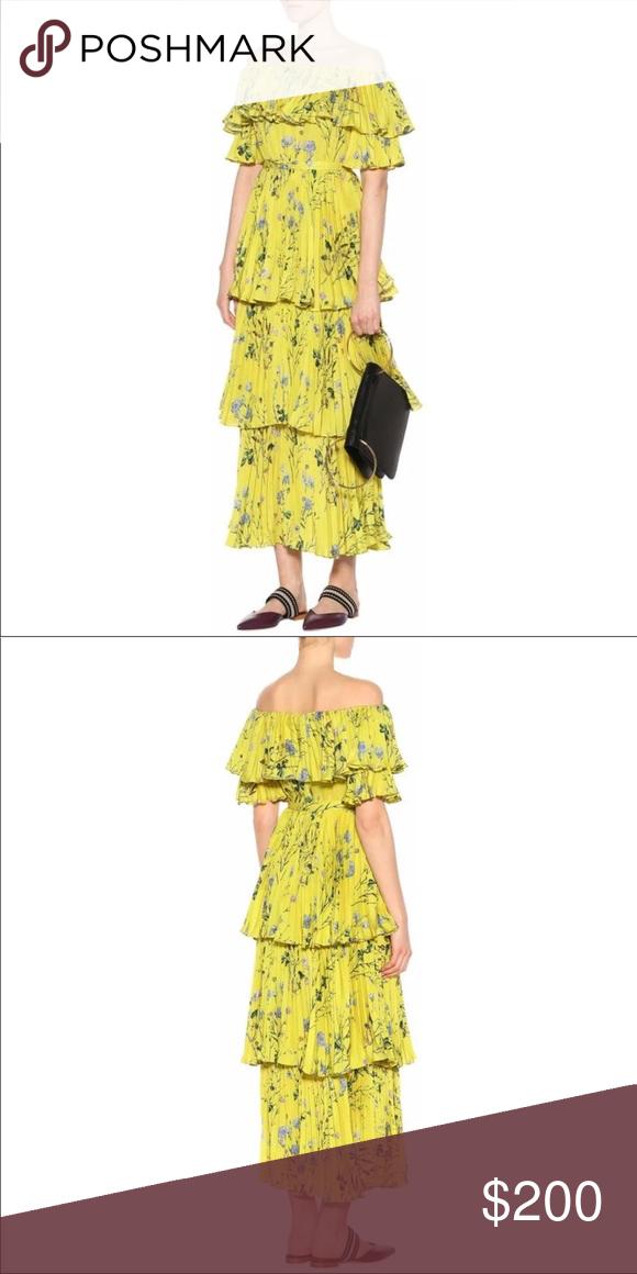 710e6808f0 Self Portrait Off the Shoulder Yellow Dress NWT Self Portrait Yellow  Layered Floral Off the Shoulder Dress