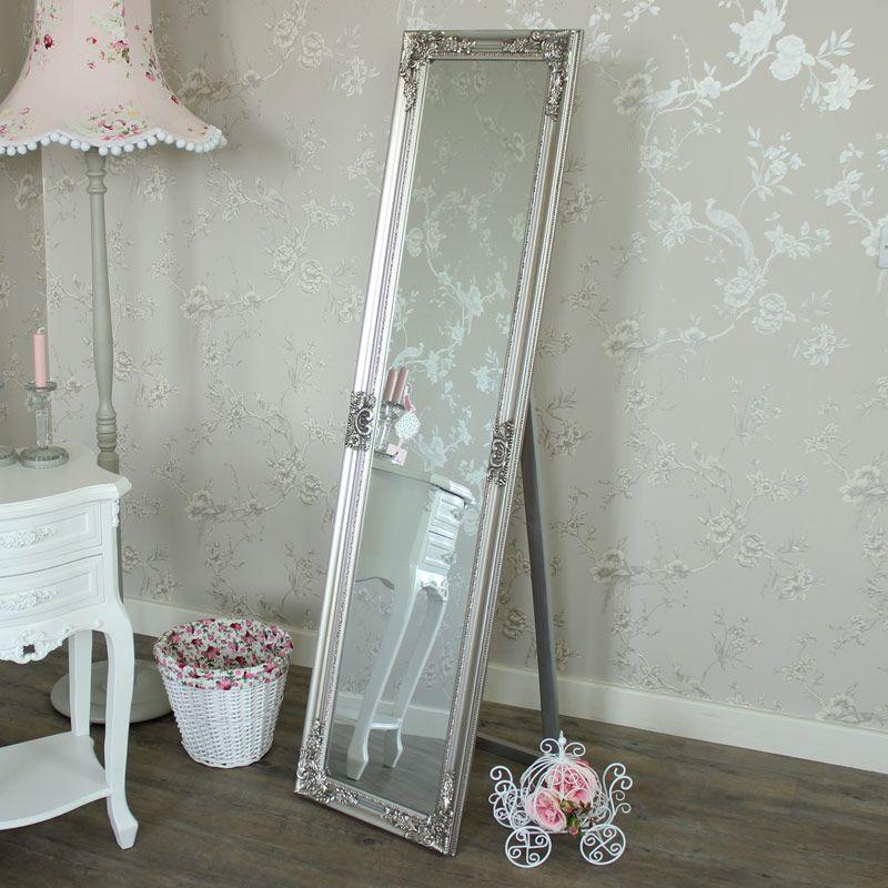 Ornate Silver Floor Standing Mirror 41cm x 159cm | Floor standing ...