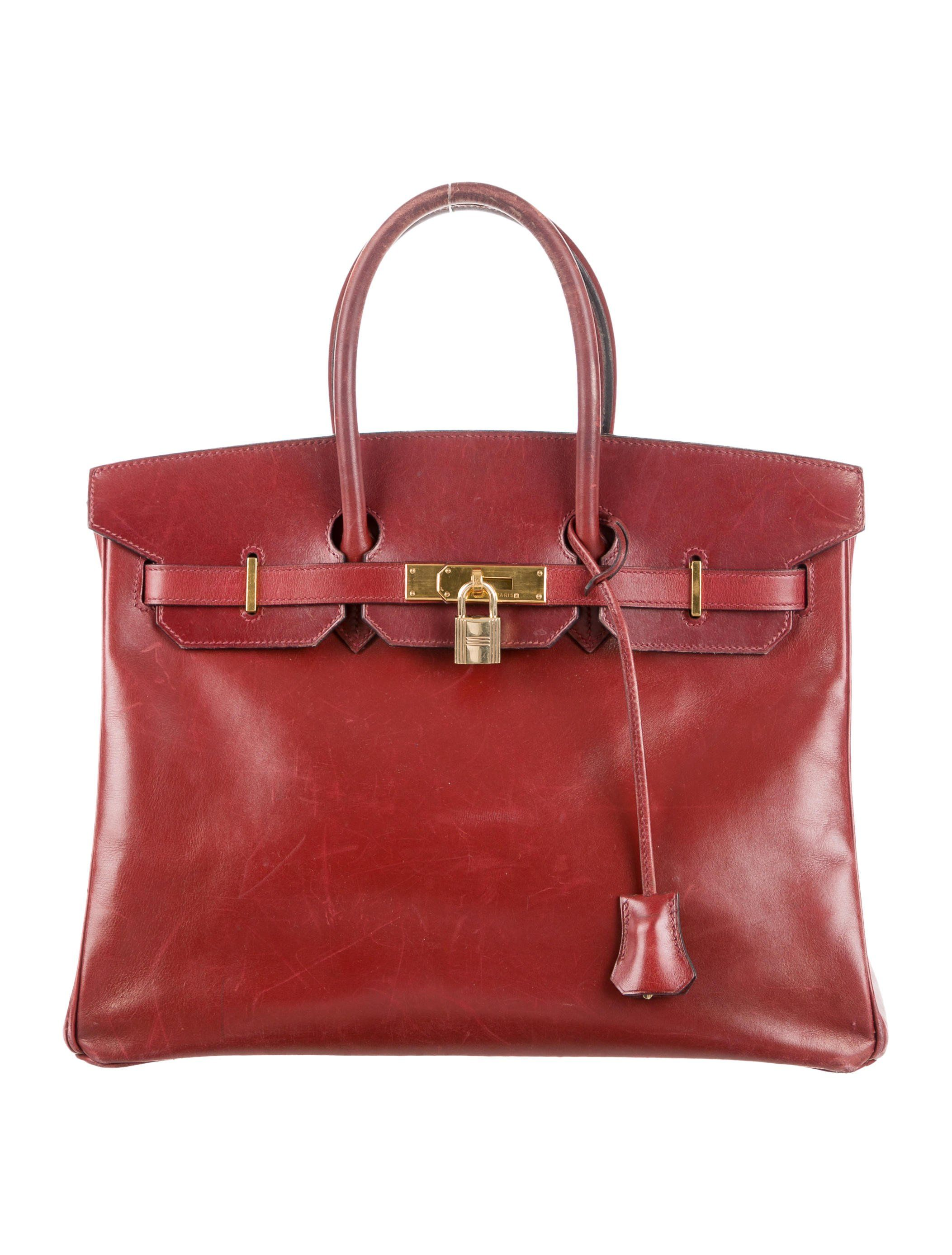 345cde040fba Rouge H Box leather Hermès Birkin 35 with gold-plated hardware