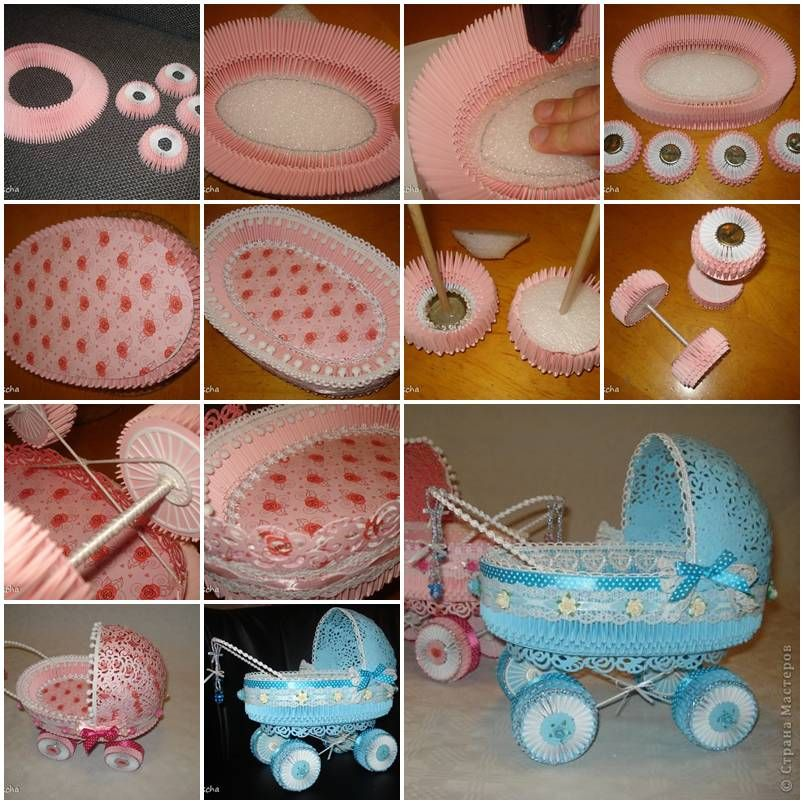 How to make paper stroller for baby showers diy tutorial baby shower crafts solutioingenieria Image collections