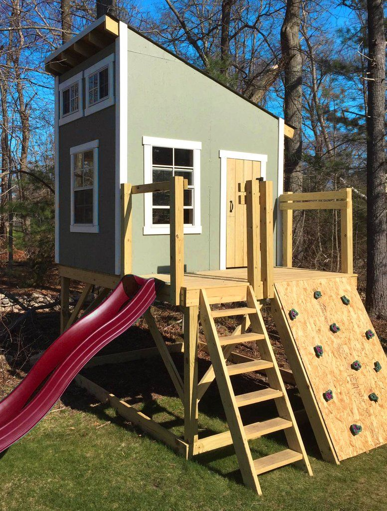 kids clubhouse. Plain Kids Cool Kids Clubhouse With Shed Roof Slide And Rock Wall To Kids Clubhouse A