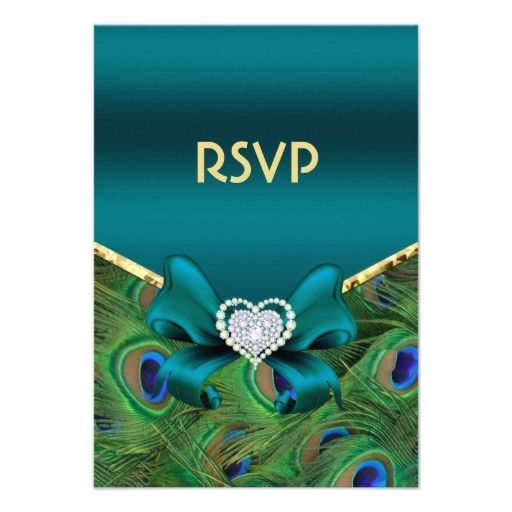 Teal Peacock RSVP Personalized Invite