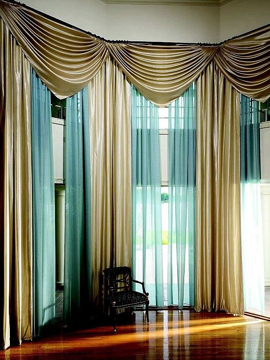 Modern Gold And Sheer Blue Drapes For Living Room Curtain Ideas