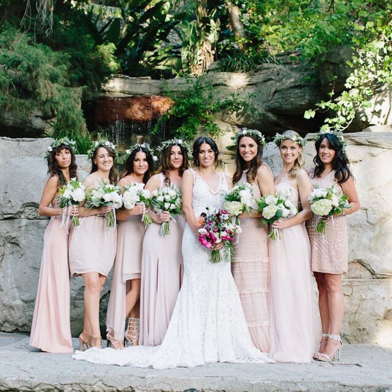 Even looks pretty with different lengths bridesmaids pinterest even looks pretty with different lengths blush pink bridesmaidsmismatched bridesmaid dresseswedding ombrellifo Image collections