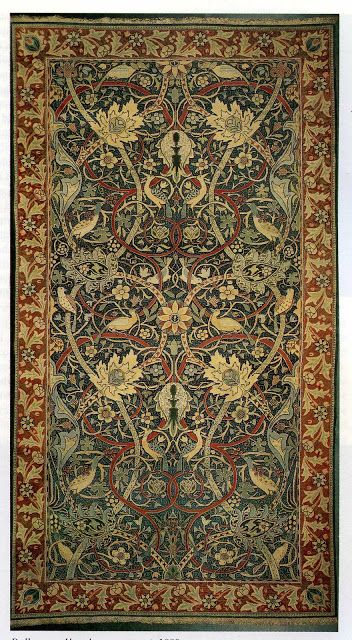 """(BrandonRugs.com) William Morris & Company: """"Bullerswood"""" 1889_""""As far as Morris was concerned, the carpet was supposed to complement the furnishings not dominate them."""" A worthwhile consideration if you want your design projects to have the integrity of a puzzle where all of the pieces fit together and no piece can be removed without the remaining pieces suffering from the loss. (The Textile Blog: William Morris and Carpet Reform)"""