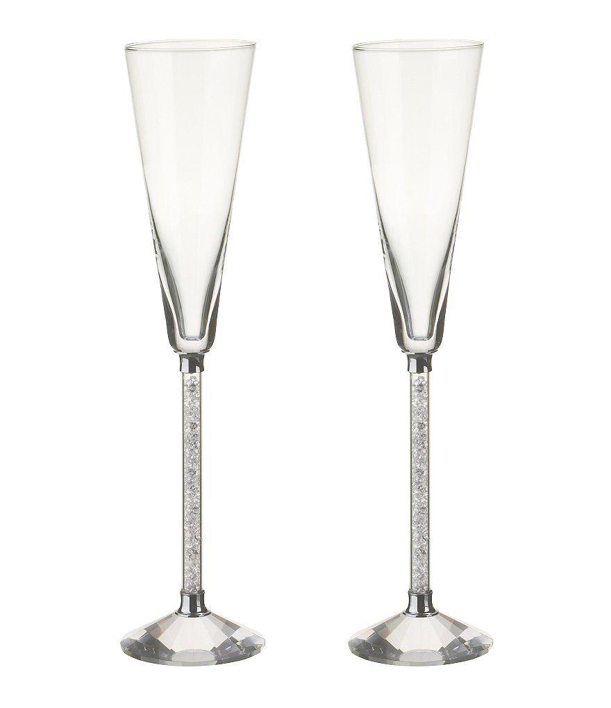 Dillards Wedding Gifts: Oleg Cassini Crystal Diamond Toasting Flutes, Set Of 2