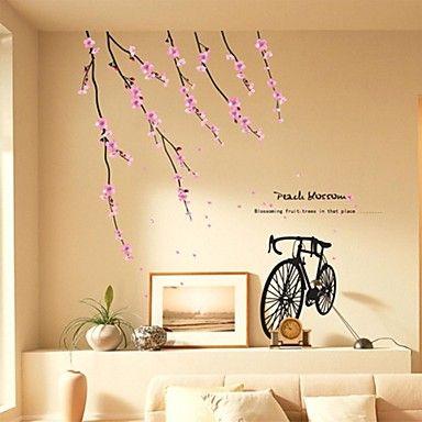Wall Stickers Wall Decals, Romantic Peach Blossom Bike PVC Wall ...