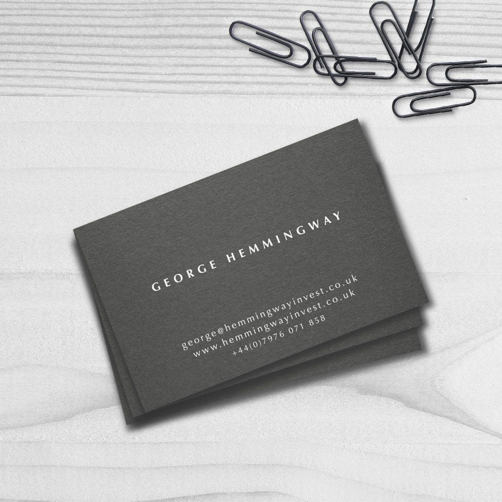 Professional Modern Minimalist Business Card printed in White Ink on ...