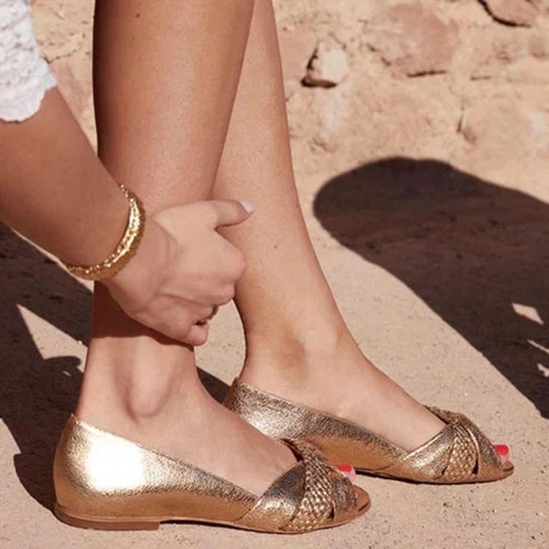 Women Slip On Flat Comfy Gold Sandals