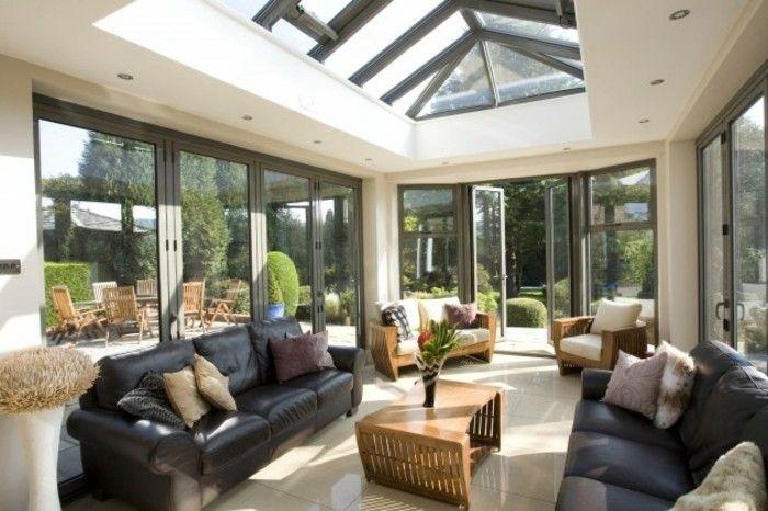 la v randa moderne 80 id es chic et tendance house extension veranda moderne v randa. Black Bedroom Furniture Sets. Home Design Ideas
