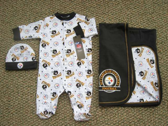 999020b785446 baby's coming home outfit! Steelers 3 piece sleep and play set ...