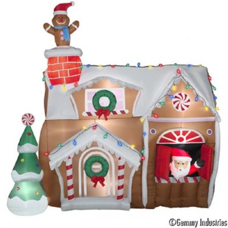 10\u0027 Animated Ginger Bread House Christmas Inflatable BY GEMMY, Home - inflatable outdoor christmas decorations