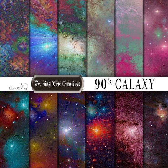 90s Galaxy Digital Paper Commercial Use Retro Space Scrapbook